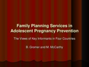 5- Family Planning Services in Adolescent Pregnancy Prevention