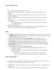 Factors Affecting Supply and Demand Notes