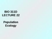 Lecture 22 population ecology posted