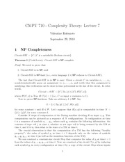CMPT 710 NP Completeness Notes
