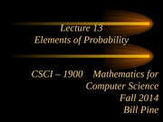 Lecture 13 - Elements of Probability