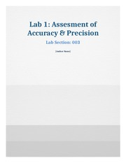 Lab 1 - Assessment of Accuracy and Precision