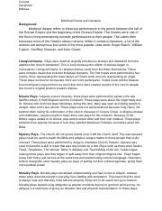 Medievel Drama and Literature