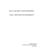 NGO AND MNC PARTNERSHIPS