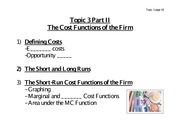 The Cost Functions of the Firm