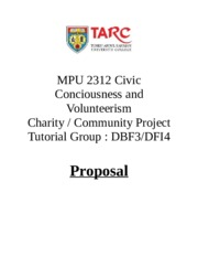 MPU 2312 Civic Conciousness and Volunteerism