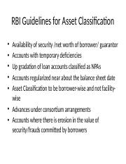 RBI Guidelines for Asset Classification.pptm