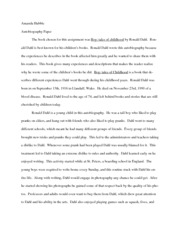 autobio paper: Boy: tales of childhood by Ronald Dahl