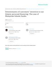 Amin et al., 2011, Determinants of customers' intention to use Islamic personal financing The case o