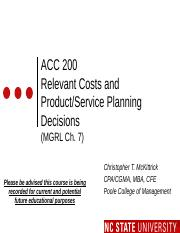 #11 CH7 MOODLE ACC200 Relevant Costs  Product Planning -Fall 2015 (1).pptx
