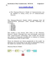 Introduction to Mass Communication - MCM101 Spring 2007 Assignment 01 Solution.doc