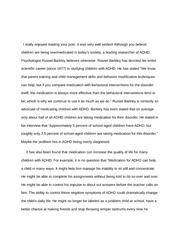 Overmedication of Children Response Essay