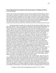 Hidalgo - Ownership and private property from the perspectives of Hegel and Marx