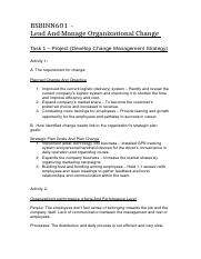 BSBINN601  - Lead And Manage Organizational Change Task 1 (Project).docx