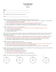 BIL150 Exam 1 Fall 2015 Key(1)
