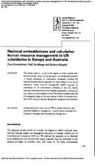 NAtional embeddedness and calculative human resource management in us subsidiaries in europe - Goode