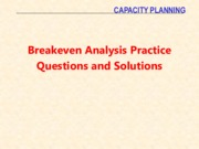Breakeven Problems and Solutions
