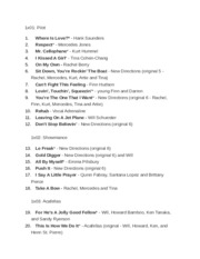 glee songlist