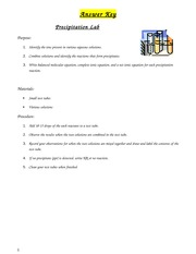 Precipitation Lab Answer Key