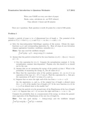 Quantum Mechanics Exam July 2014