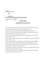 Mastery Exercise Answers