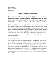 Homework 6 and 7: Managerial Decision Making