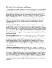 Discussion Notes on Chomsky and Skinner