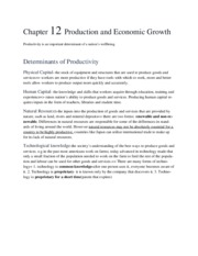 Chapter 12 Production and Economic Growth