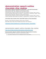 demonstration speech outline chocolate chip cookies