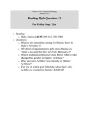 Reading Myth Questions  12