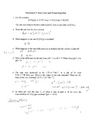 Worksheet Rates Laws and Nernst Equation