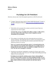 Psychology for Life Worksheet