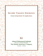 Islamic Takaful Insurance From Jurisprudents To Applications