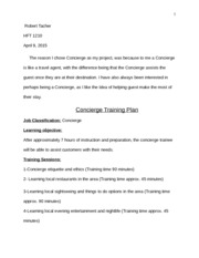 Concierge training plan