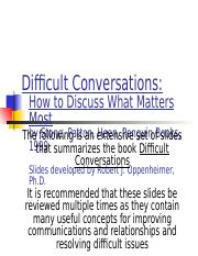 Week 3 Summary-Difficult Conversations.ppt