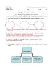 Psych Worksheet 10-1 KEY