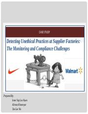 detecting unethical practices at supplier factories the monitoring and compliance challenges c 462 a Practical advice on how companies can encourage employees to to point out issues and show courage in confronting unethical or illegal practices supplier, or.