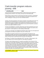 Cash-transfer program reduces poverty –WB