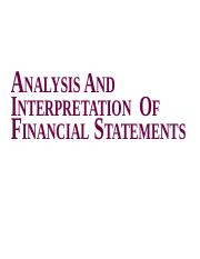 ANALYSIS financila statements