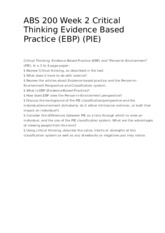 ABS 200 Week 2 Critical Thinking Evidence Based Practice (EBP) (PIE)