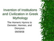 Greek Mythology, Lecture 4
