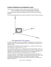 PHYS 311 Frames of Reference and Newton's Laws