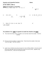 A1 U2 Day 1 HW WORKSHEET Equation and Inequality Practice