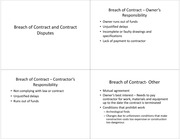 Lecture 8 Notes-Breach of Contract and Contract Disputes