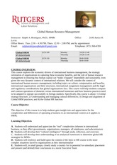 Global Human Resources Syllabus