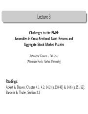 Lecture 3 - Challenges to the EMH Anomalies in Cross-Sectional Asset Returns and Aggregqte Stock Mar