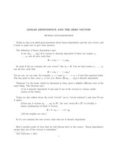 LINEAR DEPENDENCE AND THE ZERO VECTOR