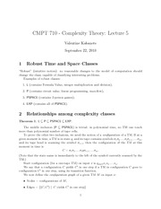 CMPT 710 Robust Time and Space Notes