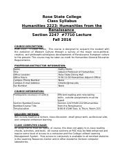 Humanitties Syllabus
