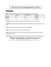 ANP1105 Topic 1 Structural Organization of the Human Body.docx